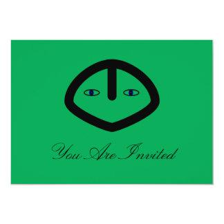 Green Alien style head 5x7 Paper Invitation Card