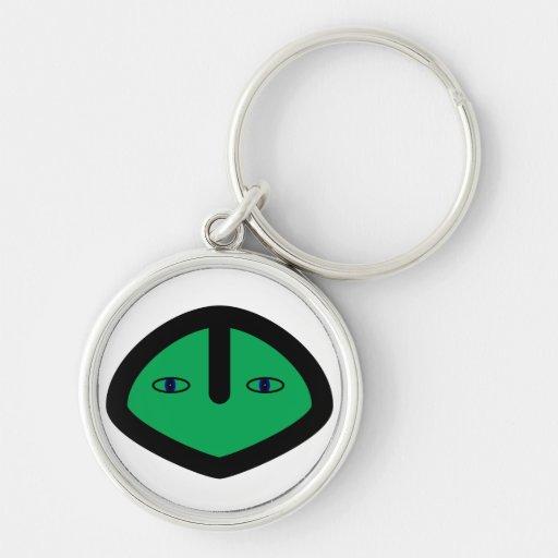 Green Alien style head Keychains