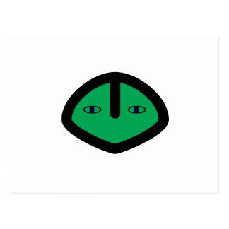 Green Alien style head Postcard