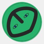 Green Alien style head Round Sticker