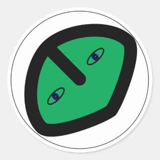 Green Alien style head Classic Round Sticker