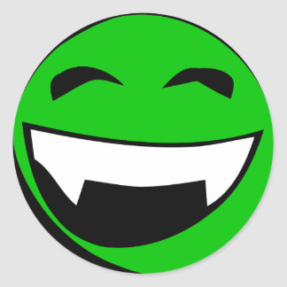 Green Alien toothy grin Classic Round Sticker