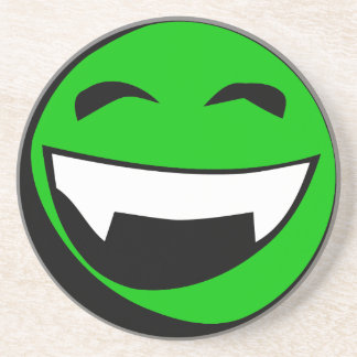 Green Alien toothy grin Drink Coaster