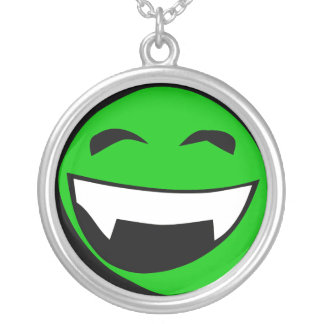 Green Alien toothy grin Round Pendant Necklace