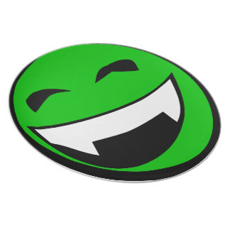 Green Alien toothy grin Plate