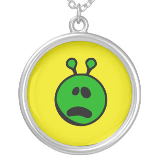 Green Alien what face Round Pendant Necklace