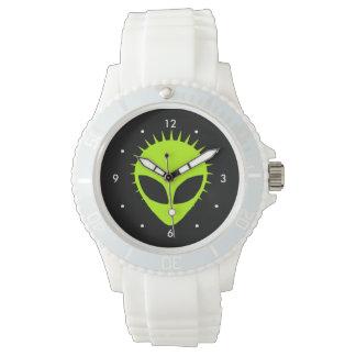 Green alien with spikes mohawk sports watch