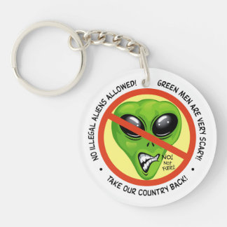 Green Aliens Are Illegal Double-Sided Round Acrylic Keychain