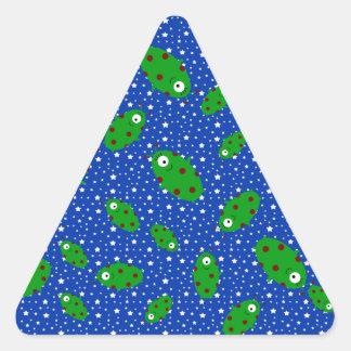 Green aliens blue stars triangle sticker
