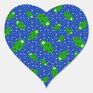 Green aliens blue stars heart stickers