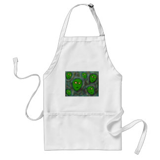 green aliens with glowing eyes murky background aprons