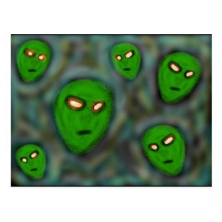green aliens with glowing eyes murky background postcard