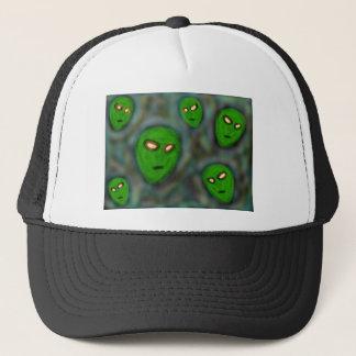green aliens with glowing eyes murky background trucker hat