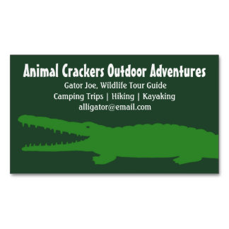 Green Alligator | Crocodile Magnetic Business Card