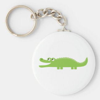 Green Alligator Basic Round Button Keychain