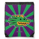 Hand shaped Green Alligator Super Jaws Drawstring Bag