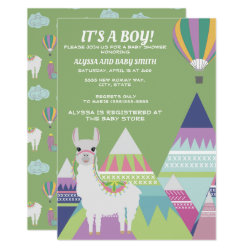 Green Alpaca Balloon Boy Baby Shower Invitation
