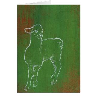 Green Alpaca Greeting Card