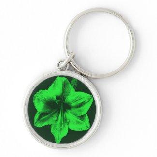 Green Amaryllis zazzle_keychain