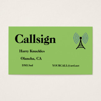 Green Amateur Radio Call Sign Business Card