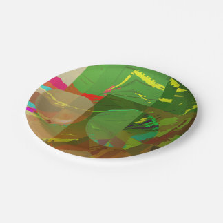 Green Amazon Abstract Paper Plate