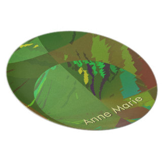 Green Amazon Abstract with Customizable Text Melamine Plate