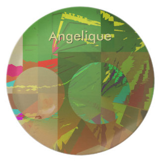 Green Amazon Abstract with Customizable Text Plate