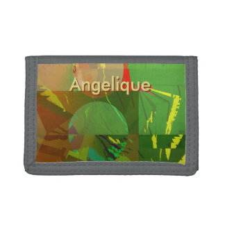 Green Amazon Abstract with Customizable Text Tri-fold Wallet