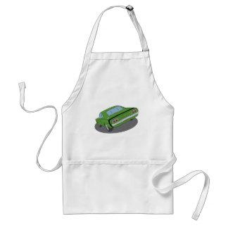 Green american muscle car apron