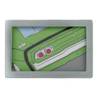 Green american muscle car belt buckle