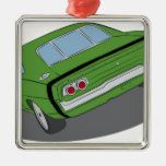 Green american muscle car christmas ornaments