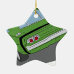Green american muscle car Double-Sided star ceramic christmas ornament