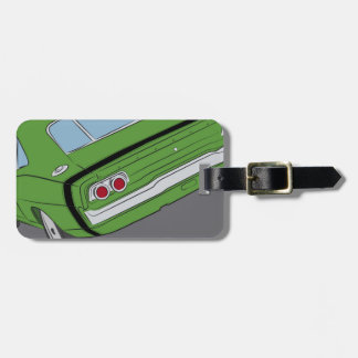 Green american muscle car travel bag tags