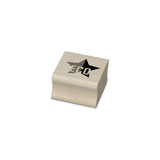 Green Anarchy Star Rubber Stamp