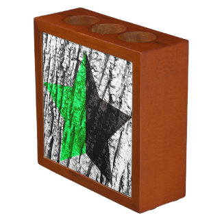 Green Anarchy Star Skin of Tree Pencil Holder