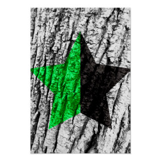 Green Anarchy Star Skin of Tree Poster
