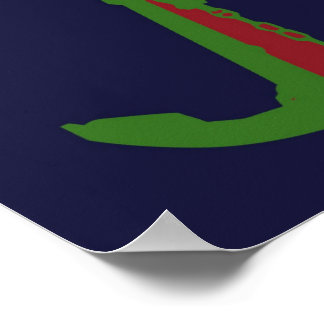 Green Anchor - Navy Blue Posters