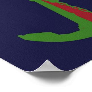 Green Anchor - Navy Blue Poster