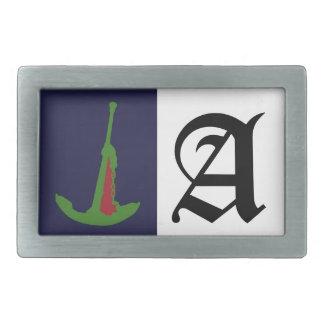 Green Anchor - Navy Blue Rectangular Belt Buckle