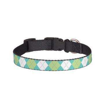 heartlocked Green and Aqua Argyle Pattern Pet Collar
