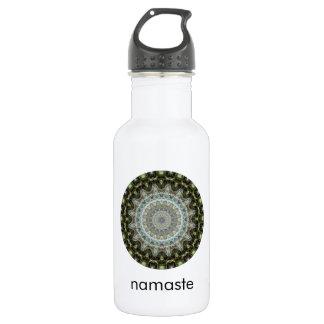Green and Aqua Mandala Art Namaste Water Bottle