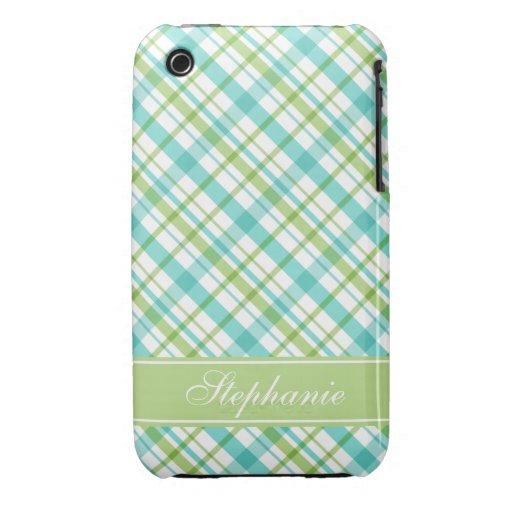Green and Aqua Plaid Pattern Case-Mate iPhone 3 Case