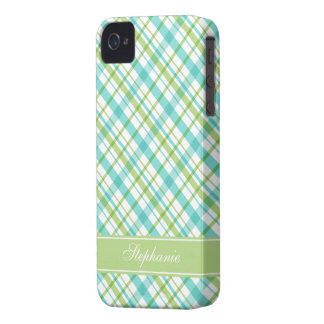 Green and Aqua Plaid Pattern iPhone 4 Cover