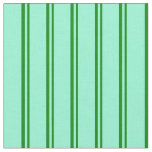 [ Thumbnail: Green and Aquamarine Colored Striped Pattern Fabric ]