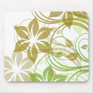 Green and Beige Brushed Flowers1 Mouse Pads