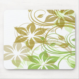 Green and Beige Brushed Flowers1 Mouse Pad