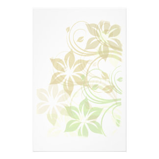 Green and Beige Brushed Flowers1 Stationery