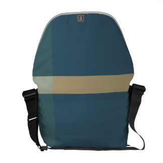 Green and Beige Color Blocks Courier Bag