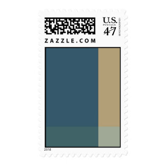 Green and Beige Color Blocks Postage