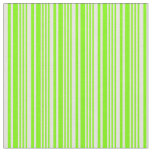 [ Thumbnail: Green and Beige Colored Lined Pattern Fabric ]